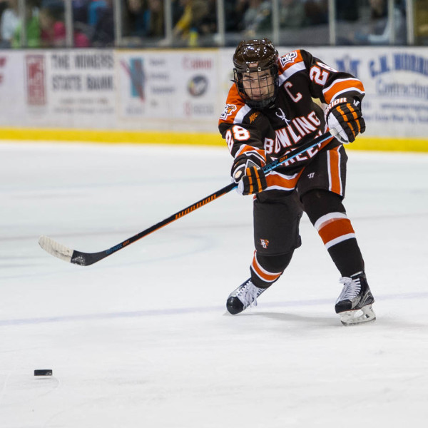 Bowling Green's Sean Walker makes a play against Michigan Tech earlier this season (Photo by Todd Pavlack/BGSUHockey.com).