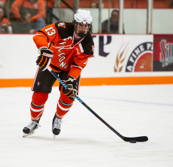 BG's Stephen Baylis controls the puck earlier this season.